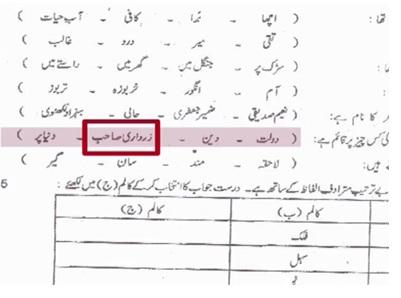 Zardari sahib' appears as MCQ option